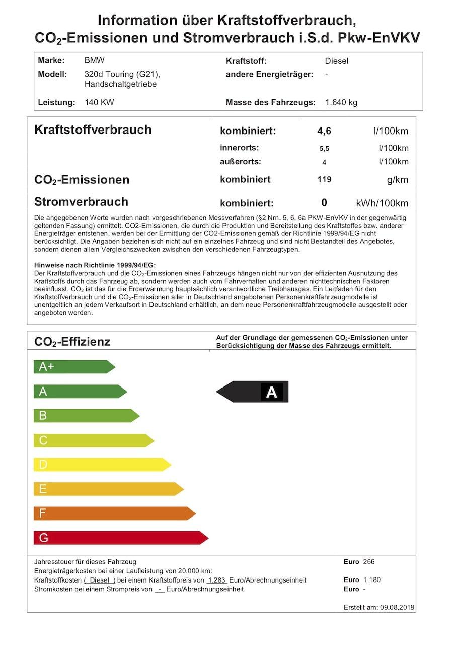 Energieeffizienzlabel 3er BMW